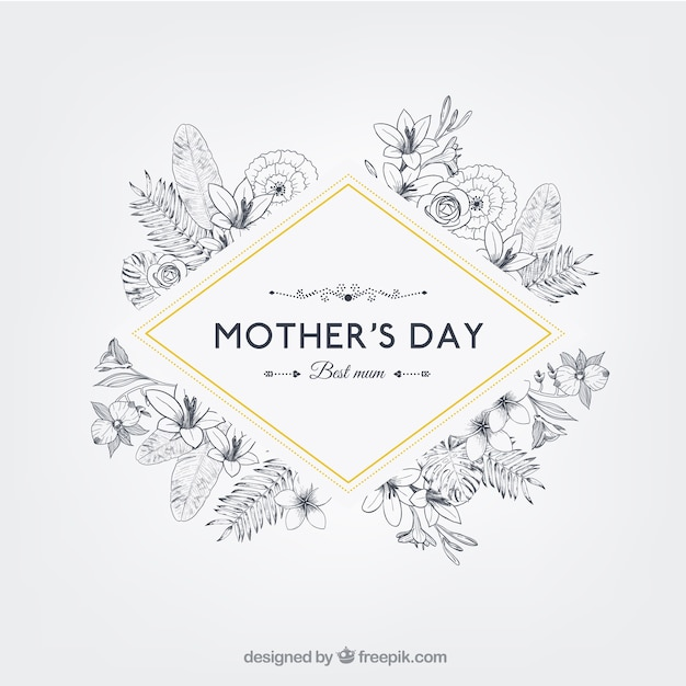 Floral mothers day badge in retro style Free Vector