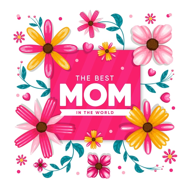 Floral mothers day concept Free Vector