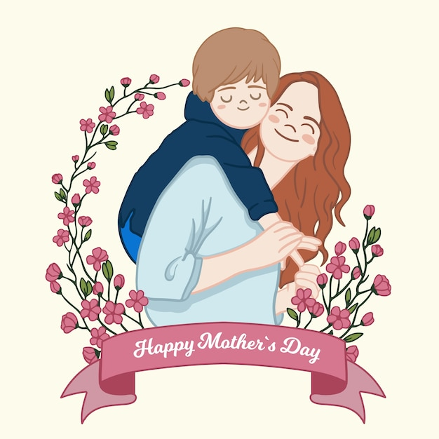 Floral mothers day concept Premium Vector