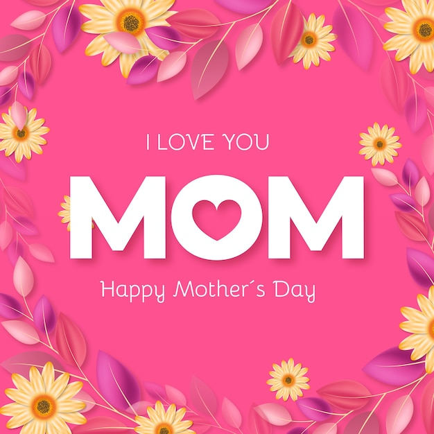 Floral mothers day theme Free Vector