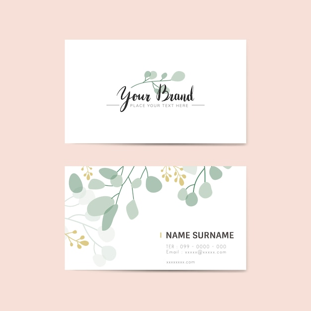 Floral name card Free Vector