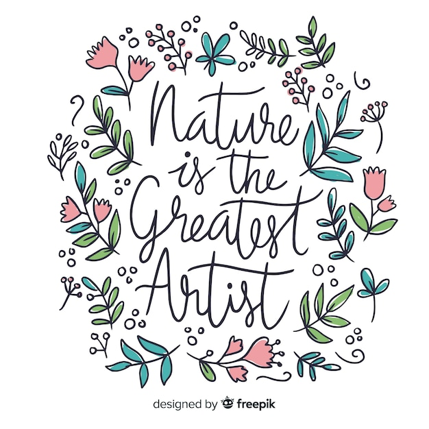 Floral nature background with quote Free Vector