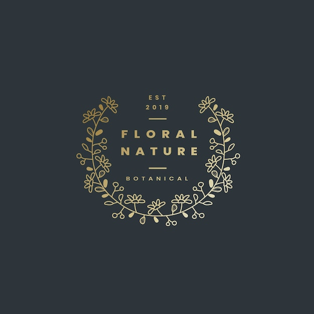 Floral nature badge design vector Free Vector