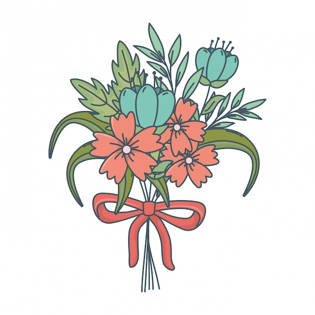 Floral nature flowers cartoon Free Vector