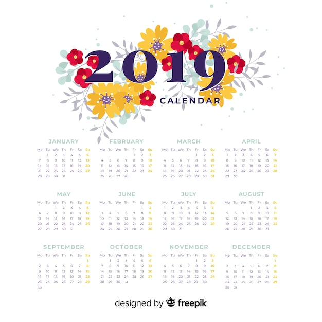 Floral new year 2019 calendar Free Vector