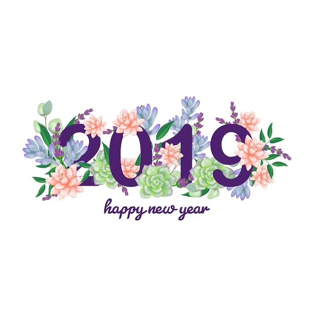 Floral new year 2019 Premium Vector