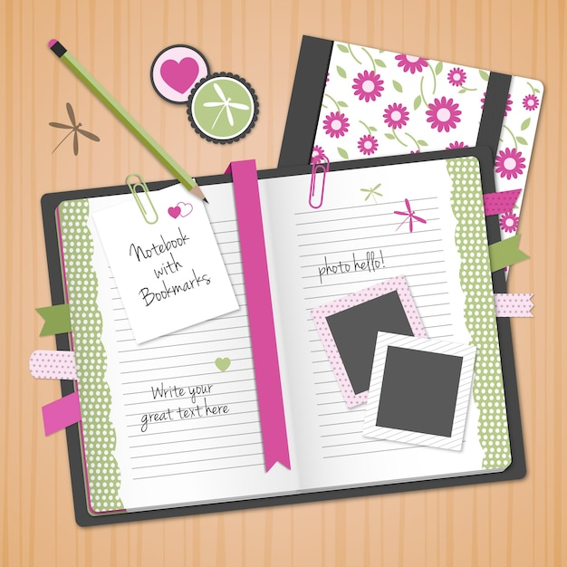 Floral notebook Free Vector