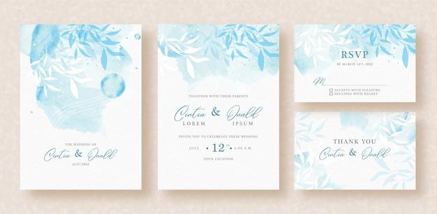 結婚式の招待状に青い背景の花 Premiumベクター