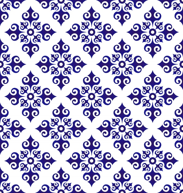 Floral ornament backdrop islamic style,seamless blue and white ceramic pattern, porcelain Premium Vector