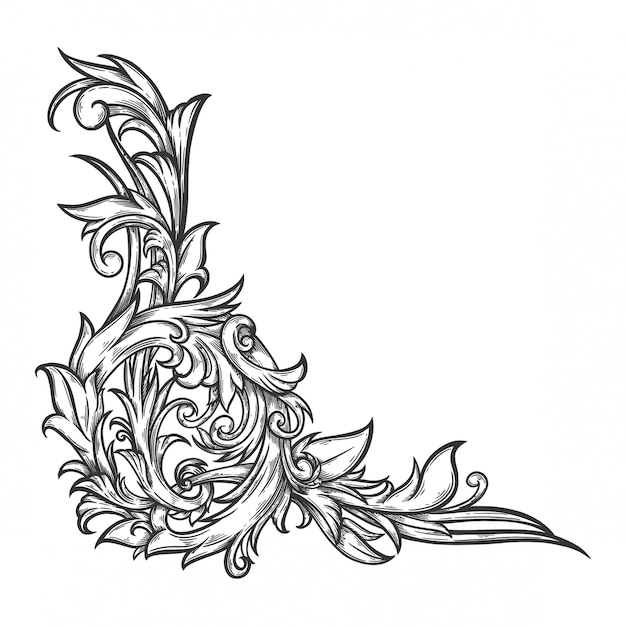 Floral ornament baroque for border frame and corner. Premium Vector