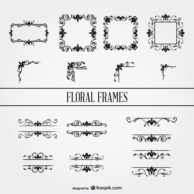 Floral ornament frames set Vector | Free Download