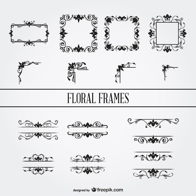50b2362d5bf Floral ornament frames set Free Vector