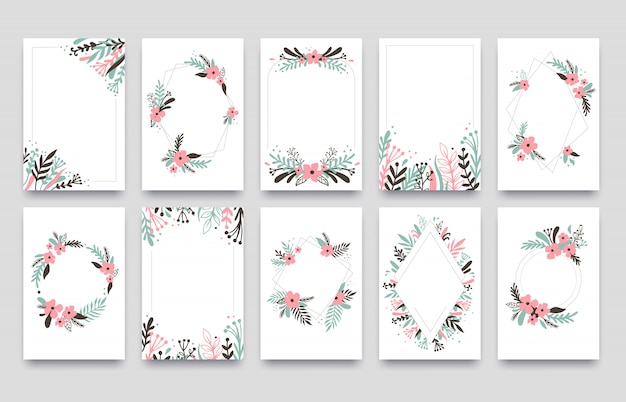 Floral Ornament Invitation Card Willow Leafs Frame Border