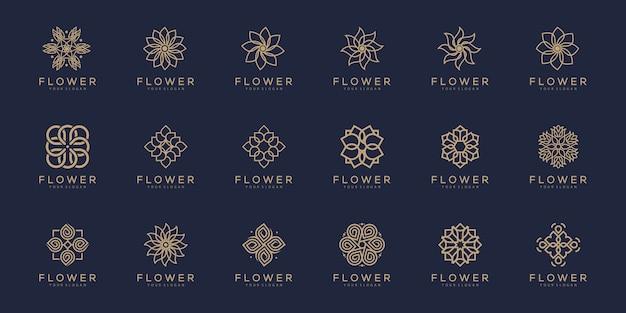 花飾りのロゴとアイコンのセット。 Premiumベクター