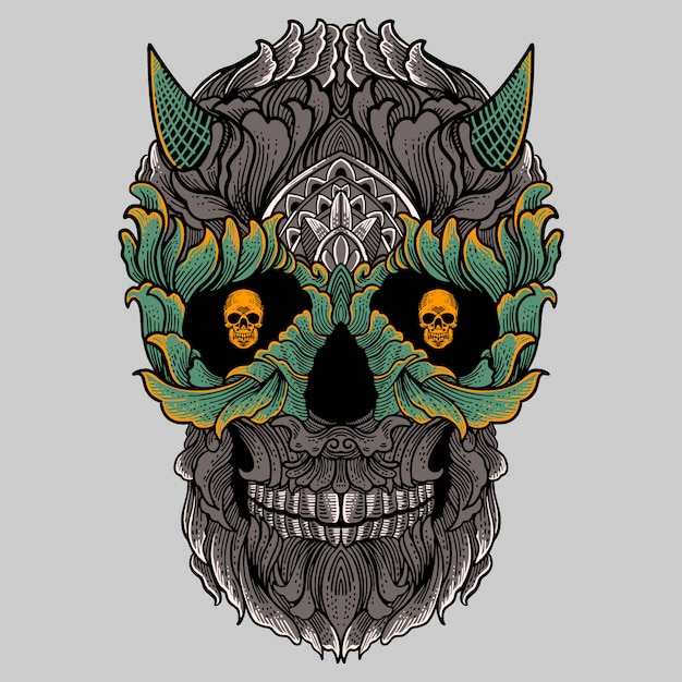 Floral ornament skull with horn hand drawing Premium Vector