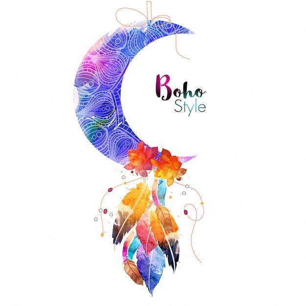 Luna crescente ornamentale floreale con fiori e piume di acquerello, elemento etnico di stile creativo boho. Vettore gratuito