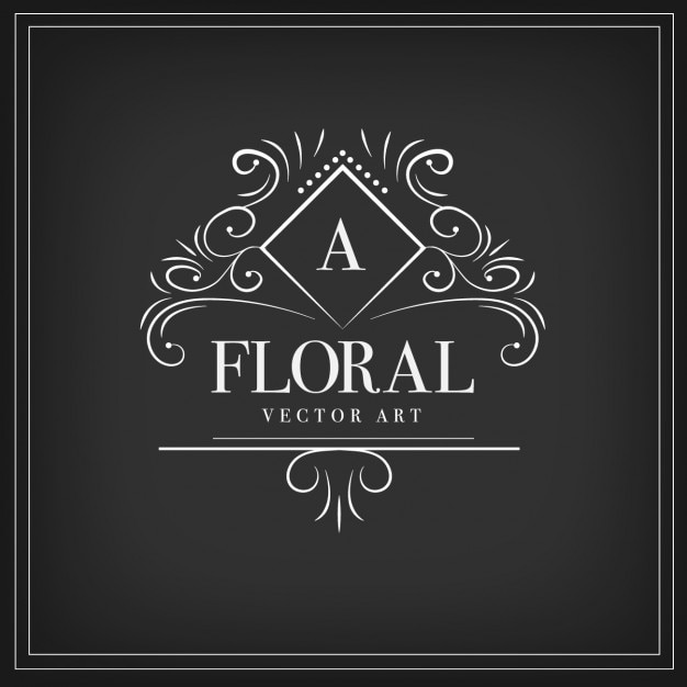 Floral ornamental logotype  Free Vector