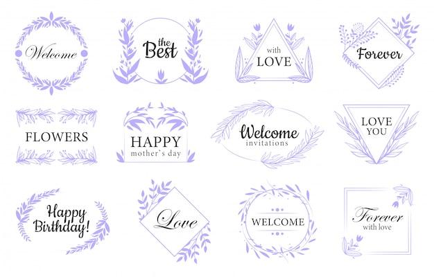 Floral ornaments flat labels set Free Vector