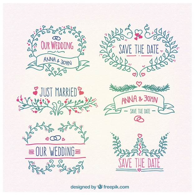 Floral ornaments for wedding Free Vector