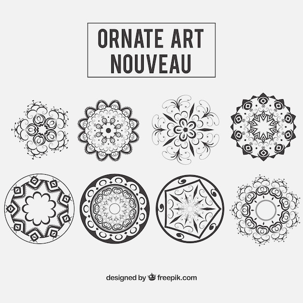 Floral ornaments in art nouveau style Vector | Free Download