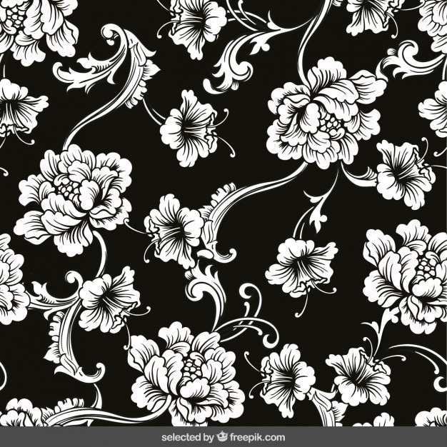 Floral ornaments on black background Free Vector