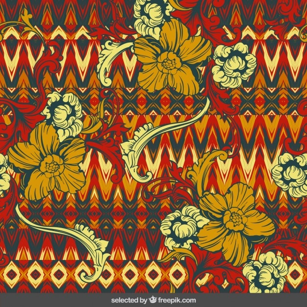 Floral ornaments on tribal background Free Vector