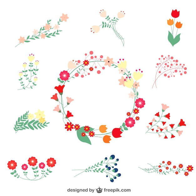 Floral ornaments and wreath Free Vector