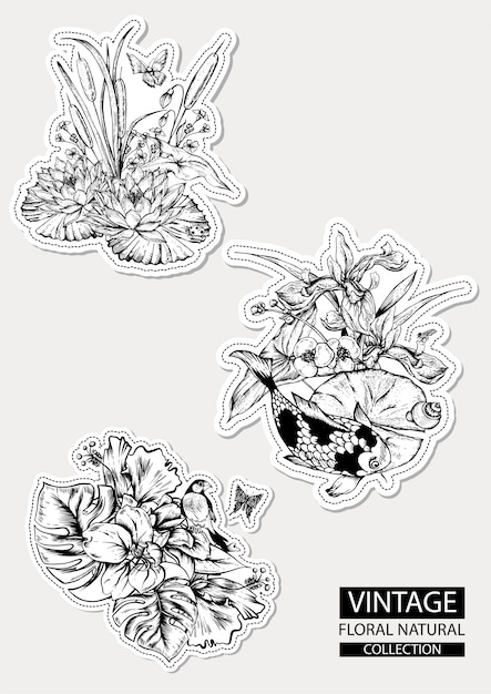Floral outline coloring vintage collections Premium Vector