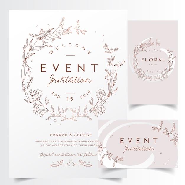 Цветочные изложил шаблон свадебной рамки Premium векторы