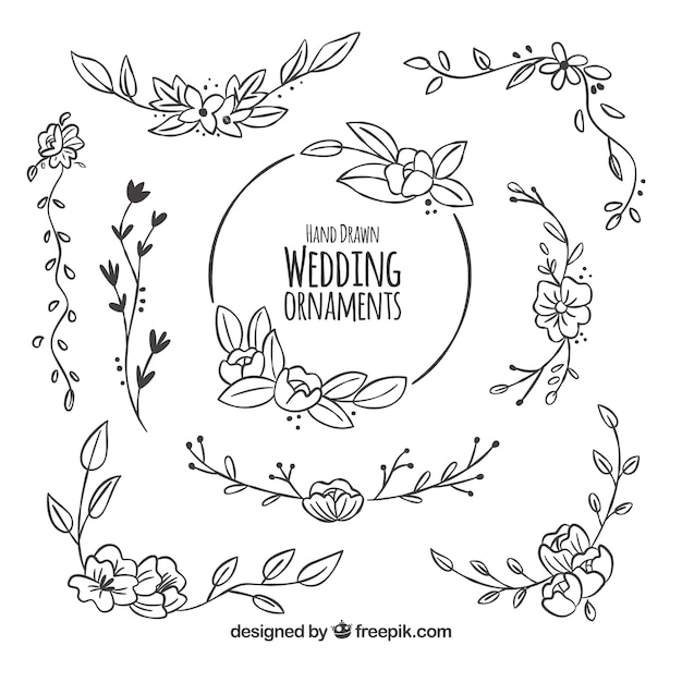 Floral pack of wedding decoration vector free download floral pack of wedding decoration free vector junglespirit Images