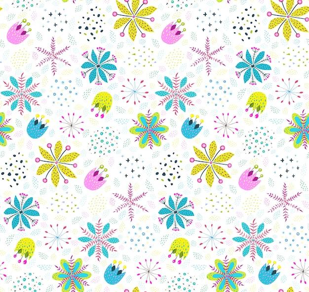 Цветочный узор фона с цветами и листьями Premium векторы