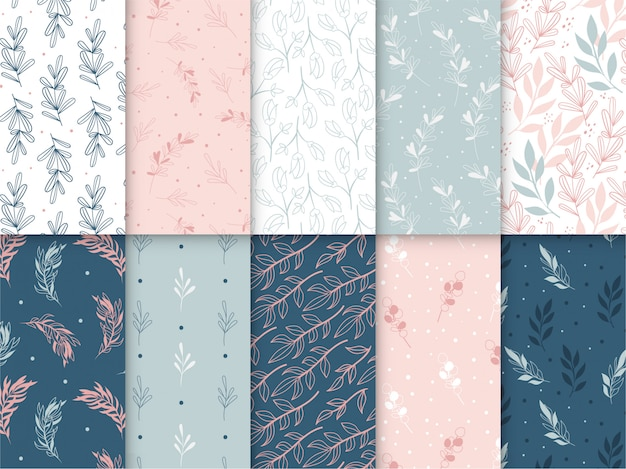 Floral pattern collection Premium Vector
