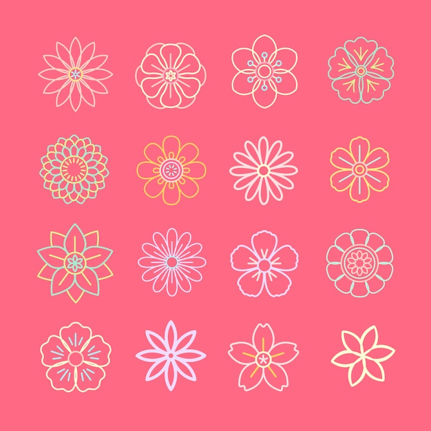 Floral pattern and icons Free Vector