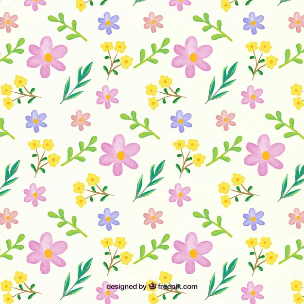 Floral pattern in watercolor style Free Vector