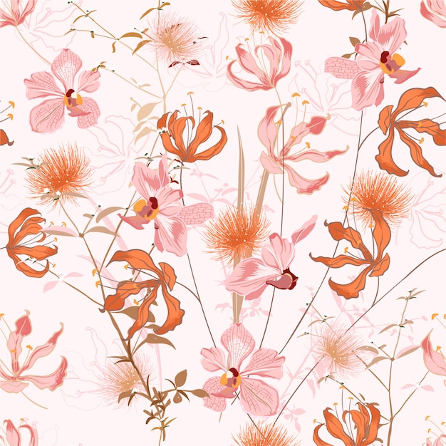 Floral pattern in the many kind of flowers. botanical motifs repeat . seamless texture. printing with in hand drawn style Premium Vector
