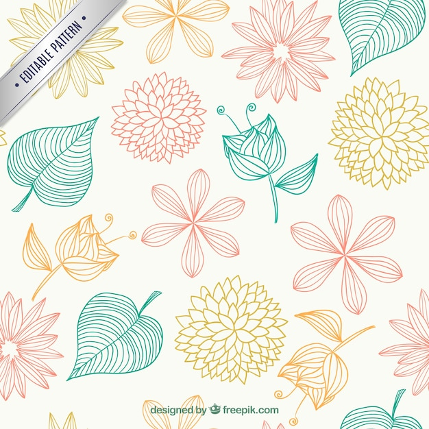 Floral Pattern In Sketchy Style Vector Free Download