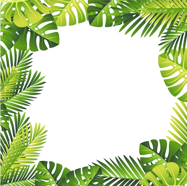 Floral pattern. tropical green leaves. exotical jungle and palm leaf.  floral element on white background Premium Vector