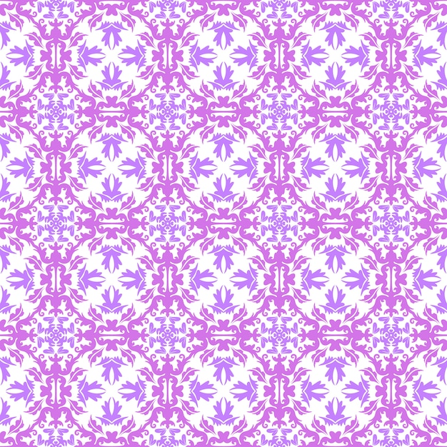 Floral pattern. wallpaper baroque, damask. seamless vector background. pink, purple and white ornament Premium Vector
