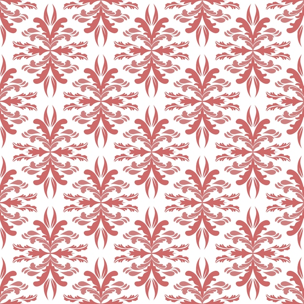 Floral Pattern Wallpaper Baroque Damask Seamless Vector Background Red And White Ornament
