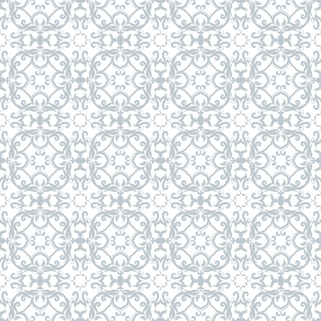 Floral Pattern Wallpaper Baroque Damask Seamless Vector Background Sky Blue And White