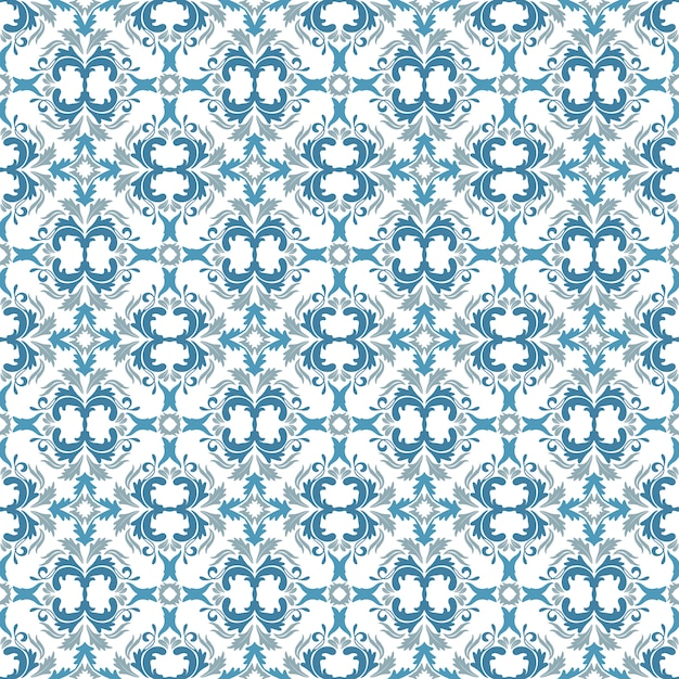 Floral Pattern Wallpaper Baroque Damask Seamless Vector Background Sky Blue
