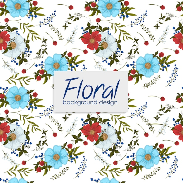 Floral pattern  with berries. Free Vector