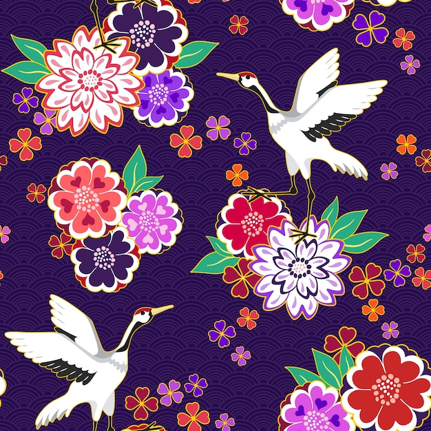 Floral pattern with gooses Premium Vector