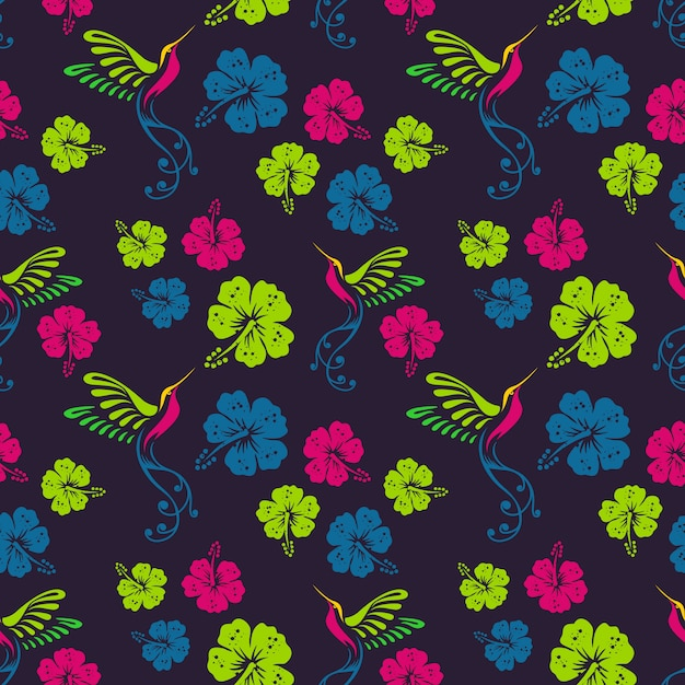 Floral pattern with humming bird and hibiscus flowers Premium Vector