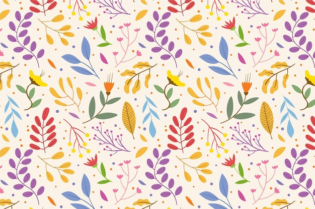 Цветочный узор с листьями Бесплатные векторы