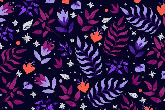Floral pattern with leaves Free Vector