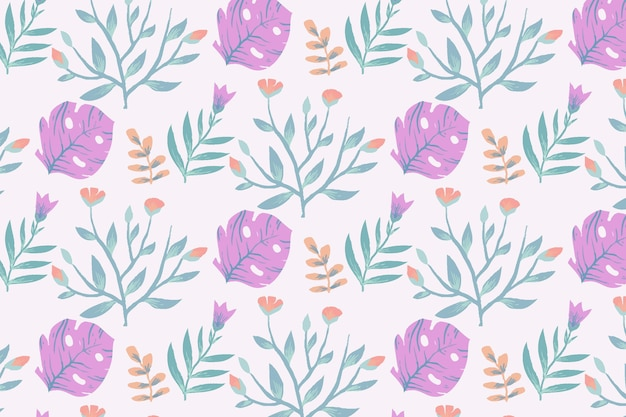 Floral pattern with monstera plant Free Vector