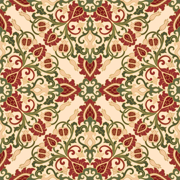Floral pattern with pomegranate. Premium Vector