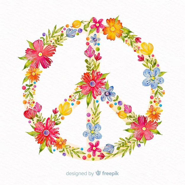 Floral peace sign background Free Vector
