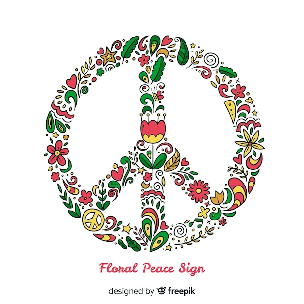 Floral peace sign Vector | Free Download